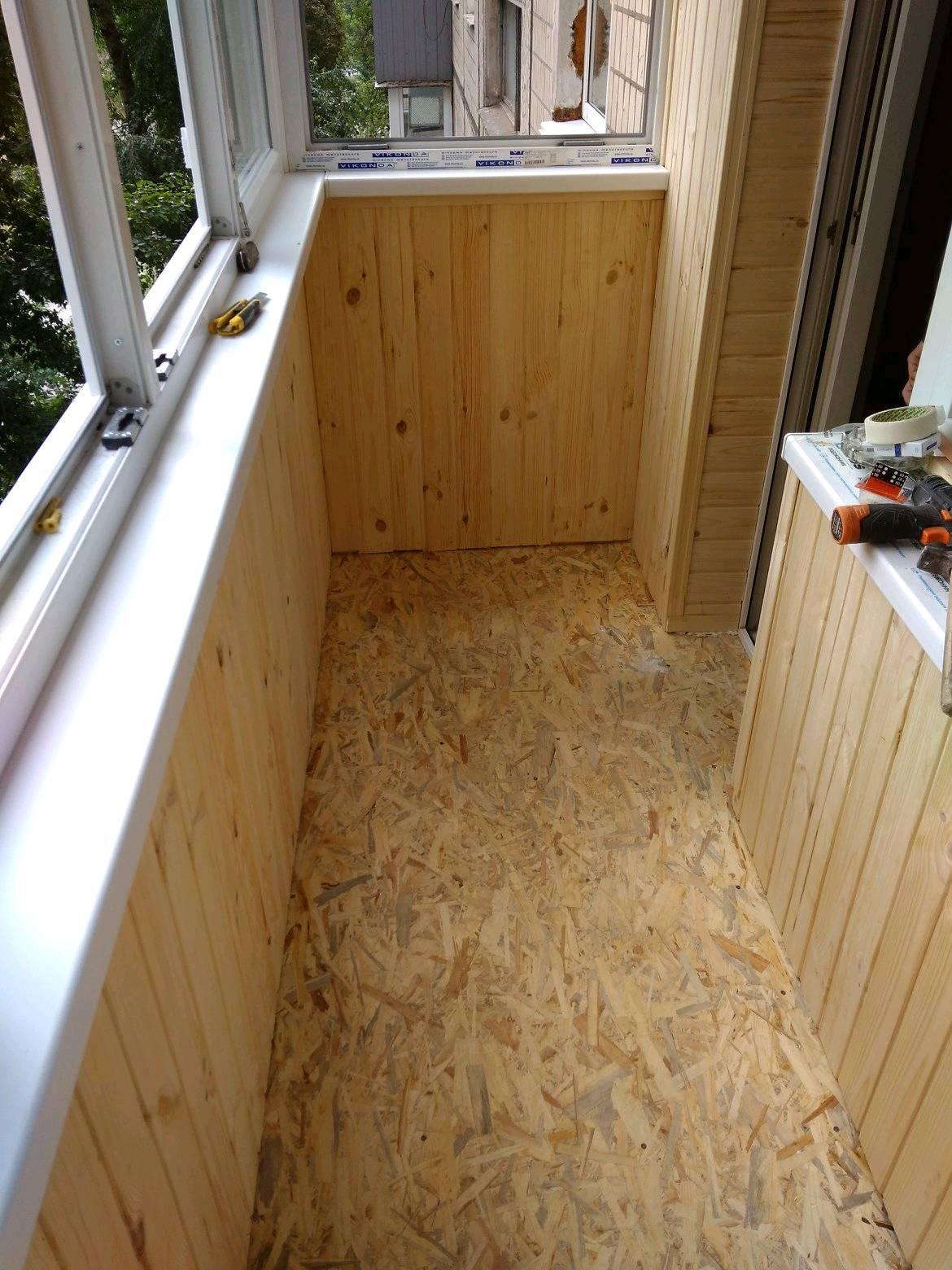 Обшить балкон внутри деревянной вагонкой
